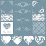 Coleção dos quadros de formas diferentes, de testes padrões sem emenda com corações e de separadores ilustração do vetor