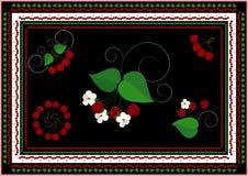 Coleção dos quadros e dos ornamento com cereja e folhas Foto de Stock Royalty Free