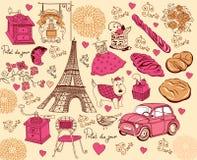 Coleção dos símbolos de Paris. Fotos de Stock Royalty Free