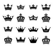 Coleção dos símbolos vol da silhueta da coroa 2 Fotografia de Stock