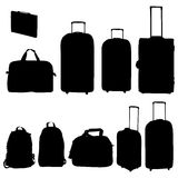 Coleção dos sacos e das malas de viagem do curso Fotos de Stock Royalty Free