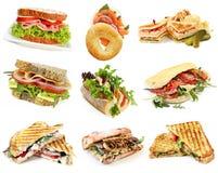 Coleção dos sanduíches Imagem de Stock