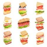 Coleção dos sanduíches Formulários e composição diferentes Ilustra??o do vetor ilustração stock