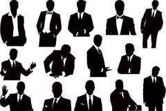 Coleção dos sillhouettes do vetor dos homens de negócios Imagem de Stock