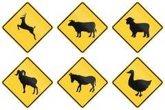 Coleção dos sinais animais do cruzamento usados nos EUA ilustração stock