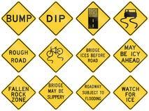 Coleção dos sinais de aviso da condição de estrada usados nos EUA ilustração do vetor