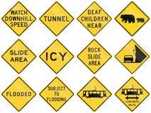 Coleção dos sinais de aviso usados nos EUA ilustração do vetor