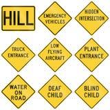 Coleção dos sinais de aviso usados nos EUA Fotos de Stock