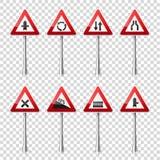 Coleção dos sinais de estrada isolada no fundo transparente Controle de tráfego rodoviário Uso da pista Parada e rendimento regul Fotos de Stock