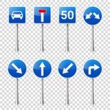 Coleção dos sinais de estrada isolada no fundo transparente Controle de tráfego rodoviário Uso da pista Parada e rendimento regul Foto de Stock