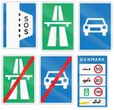 Coleção dos sinais de estrada usados em Dinamarca ilustração do vetor