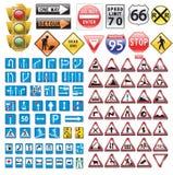 Coleção dos sinais de tráfego Foto de Stock