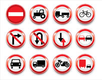 Coleção dos sinais de tráfego do vetor Imagens de Stock Royalty Free