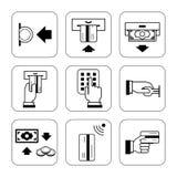 Coleção dos sinais que descrevem o uso de cartões de crédito, símbolos Fotos de Stock