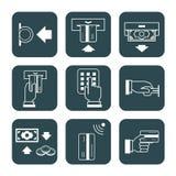Coleção dos sinais que descrevem o uso de cartões de crédito, símbolos Fotografia de Stock Royalty Free