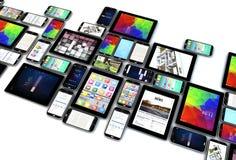 Coleção dos Smartphones e das tabuletas isolada ilustração stock