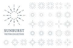 Coleção dos Sunbursts do vetor Fotos de Stock Royalty Free