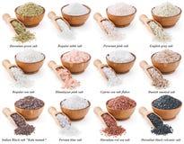 Coleção dos tipos diferentes de sal isolados sobre Imagens de Stock