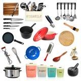 Coleção dos utensílios da cozinha isolados fotos de stock