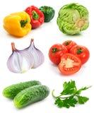 Coleção dos vegetais de frutas maduros isolados Fotos de Stock