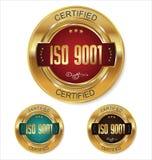 Coleção dourada certificada do crachá do ISO 9001 Fotografia de Stock Royalty Free