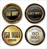 Coleção dourada certificada do crachá do ISO 9001 Foto de Stock Royalty Free
