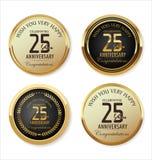 Coleção dourada da etiqueta do aniversário, 25 anos Fotos de Stock