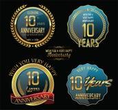 Coleção dourada da etiqueta do aniversário 10 anos Fotografia de Stock Royalty Free