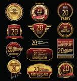 Coleção dourada da etiqueta do aniversário 20 anos Imagem de Stock Royalty Free