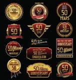 Coleção dourada da etiqueta do aniversário 50 anos Imagens de Stock Royalty Free