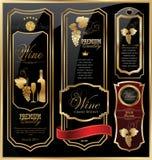 Coleção dourada da etiqueta do vinho Imagem de Stock