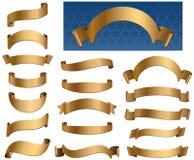 Coleção dourada das bandeiras fotografia de stock royalty free