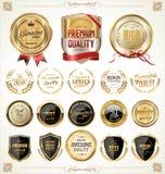 Coleção dourada das etiquetas Foto de Stock