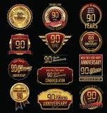 Coleção dourada das etiquetas do aniversário 90 anos Fotos de Stock Royalty Free