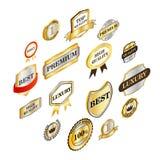 Coleção dourada das etiquetas, estilo 3d isométrico Imagem de Stock Royalty Free