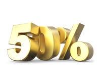 coleção dourada do disconto 3D - 50% Fotos de Stock