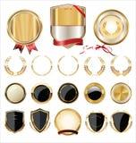 Coleção dourada dos protetores, dos louros e das medalhas Imagem de Stock Royalty Free