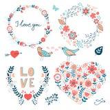 Coleção elegante de elementos gráficos românticos Imagem de Stock Royalty Free