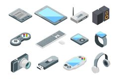 Coleção eletrônica diferente dos dispositivos Símbolos isométricos da tecnologia Isolado ajustado imagens do vetor ilustração do vetor