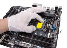 Coleção eletrônica - a instalação do processador Fotografia de Stock Royalty Free