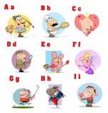 Coleção engraçada 1 do alfabeto dos desenhos animados Imagem de Stock