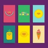 Coleção engraçada bonito estilizado do cartaz do verão Imagens de Stock