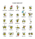 Coleção engraçada da abelha, esboço para seu projeto Foto de Stock
