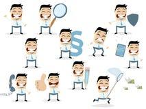 Coleção engraçada dos desenhos animados de um homem de negócios asiático em várias situações imagens de stock