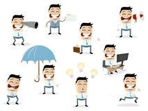 Coleção engraçada dos desenhos animados de um homem de negócios asiático em várias situações fotos de stock royalty free
