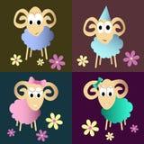 Coleção engraçada dos desenhos animados dos carneiros Imagens de Stock Royalty Free