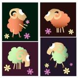 Coleção engraçada dos desenhos animados dos carneiros Fotos de Stock