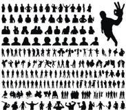 Coleção enorme de silhuetas dos povos Imagem de Stock