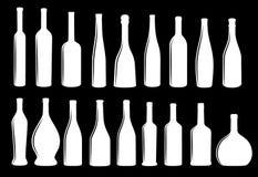 Coleção eps 10 do ícone da garrafa de vinho ilustração royalty free