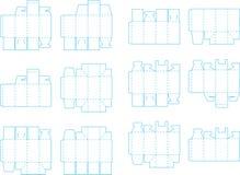 Coleção 03 eps do molde da caixa ilustração do vetor
